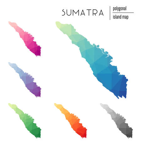Set of vector polygonal Sumatra maps filled with bright gradient of low poly art. Multicolored island outline in geometric style for your infographics.