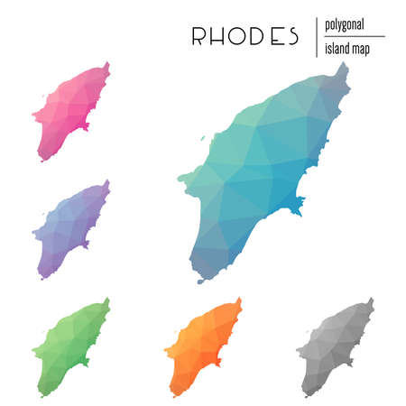 Set of vector polygonal Rhodes maps filled with bright gradient of low poly art. Multicolored island outline in geometric style for your info-graphics. Иллюстрация