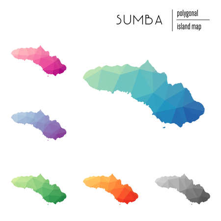 Set of vector polygonal Sumba maps filled with bright gradient of low poly art. Multicolored island outline in geometric style for your infographics.