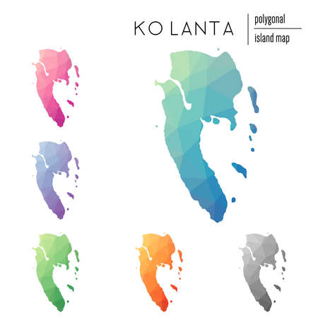 Zestaw wektorowych wielokątnych map Ko Lanta wypełnionych jasnym gradientem sztuki low poly. Wielobarwny kontur wyspy w geometrycznym stylu dla infografiki.
