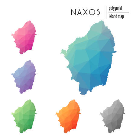 Set of vector polygonal Naxos maps filled with bright gradient of low poly art. Multicolored island outline in geometric style for your infographics.