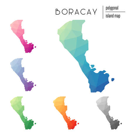 Set of vector polygonal Boracay maps filled with bright gradient of low poly art. Multicolored island outline in geometric style for your infographics. Illustration