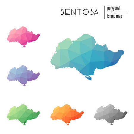 Set of vector polygonal Sentosa maps filled with bright gradient of low poly art. Multicolored island outline in geometric style for your infographics. Иллюстрация