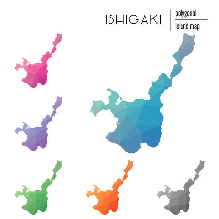 Set of vector polygonal Ishigaki maps filled with bright gradient of low poly art. Multicolored island outline in geometric style for your infographics.  イラスト・ベクター素材