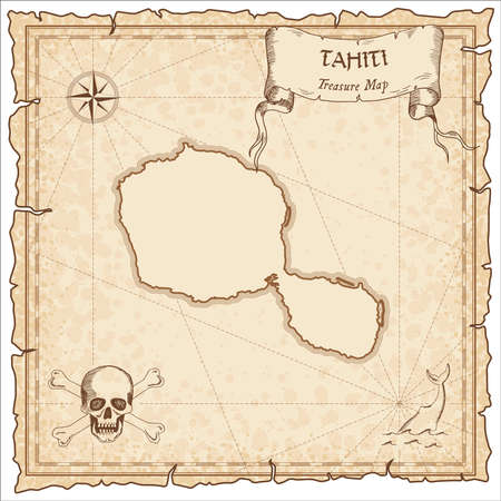 Tahiti old pirate map. Sepia engraved parchment template of treasure island.
