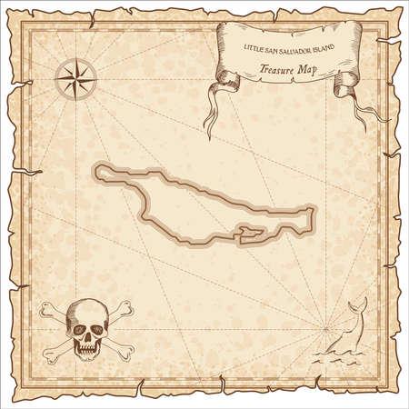 Little San Salvador Island treasure map with a skull and bones
