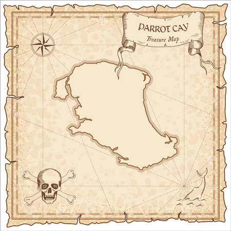 Parrot Cay old treasure map in brown color