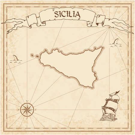 Sicilia old treasure map in brown color