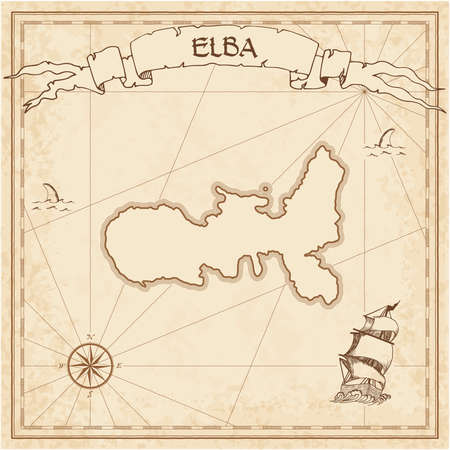 Elba old treasure map in a brown color