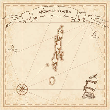 Andaman Islands old treasure map. Sepia engraved template of pirate island parchment.