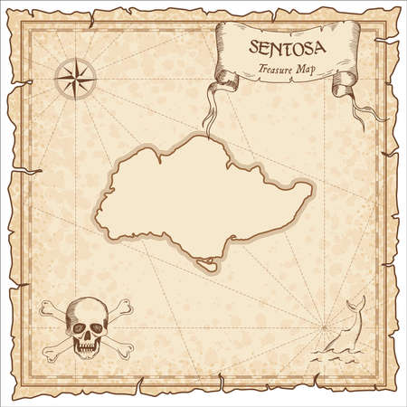 Sentosa old pirate map in brown color