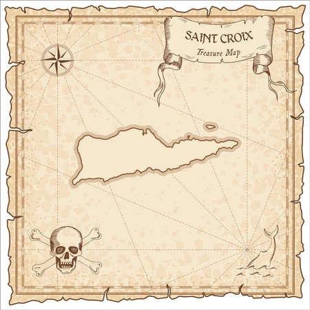 Vecchia mappa pirata di Saint Croix. Modello di pergamena incisa color seppia dell'isola del tesoro.