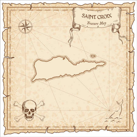 Saint Croix old pirate map. Sepia engraved parchment template of treasure island. Vettoriali