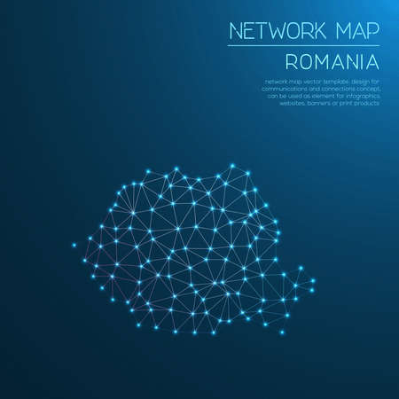 Romania network map abstract polygonal map design. Internet connections vector illustration.
