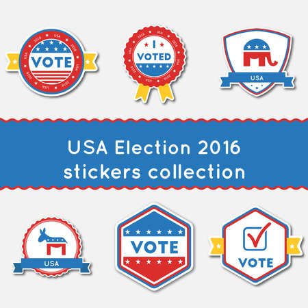 USA election 2016 stickers set buttons collection for USA presidential elections 2016. Pack of blue and red patriotic badges. Round labels vector illustration.