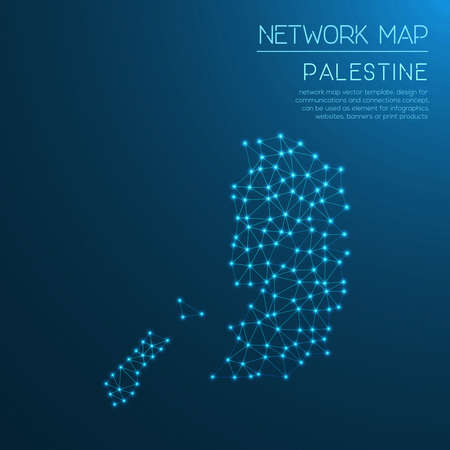 Palestine network map. Abstract polygonal map design. Internet connections vector illustration. Illustration