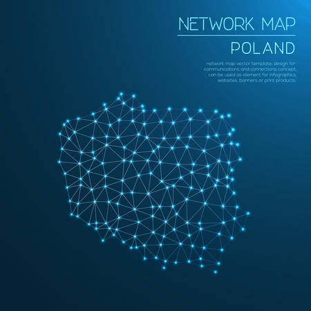 Poland network map. Abstract polygonal map design. Internet connections vector illustration.  イラスト・ベクター素材