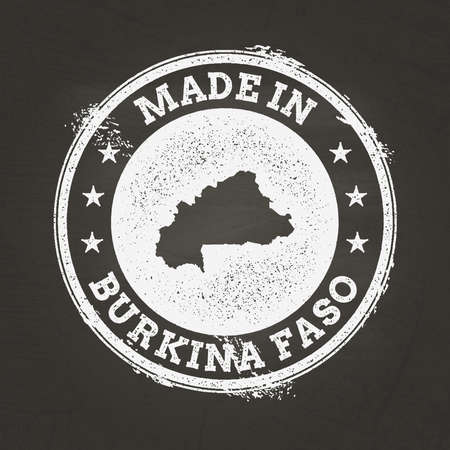 White chalk texture made in stamp with Burkina Faso map on a school blackboard. Grunge rubber seal with country map outline, vector illustration.
