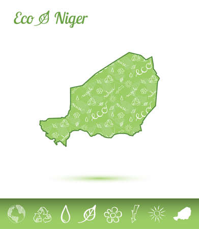 Niger ecological map filled with green pattern. Green country map with ecology concept design elements vector illustration. Illustration