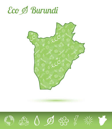 Burundi ecological map filled with green pattern. Green country map with ecology concept design elements vector illustration.