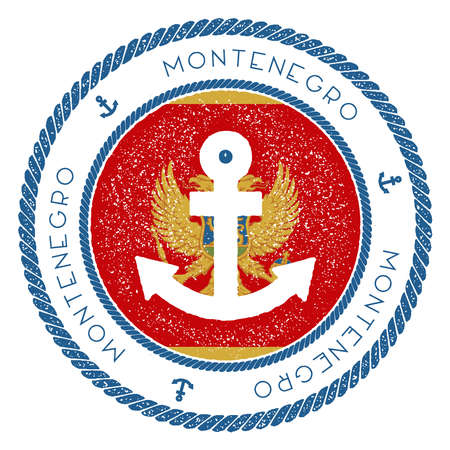 Nautical Travel Stamp with Montenegro Flag and Anchor. Marine rubber stamp, with round rope border and anchor symbol on flag background. Vector illustration.