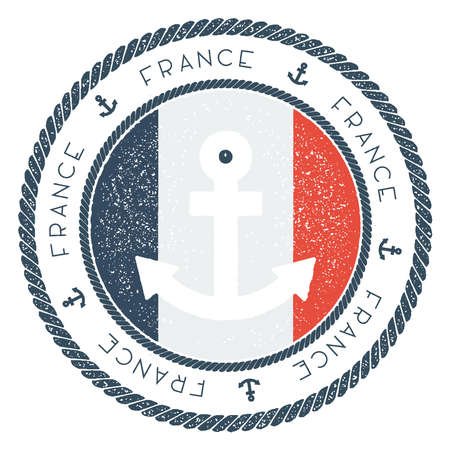 Nautical Travel Stamp with France Flag and Anchor. Marine rubber stamp, with round rope border and anchor symbol on flag background. Vector illustration.
