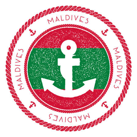 Nautical Travel Stamp with Maldives Flag and Anchor. Marine rubber stamp, with round rope border and anchor symbol on flag background. Vector illustration.