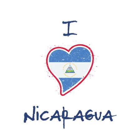Nicaraguan flag patriotic t-shirt design. Heart shaped national flag Nicaragua on white background. Vector illustration.