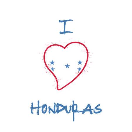 Honduran flag patriotic t-shirt design. Heart shaped national flag Honduras on white background. Vector illustration. Illustration