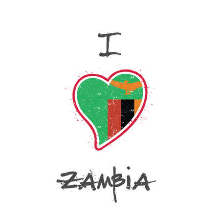 Zambian flag patriotic t-shirt design. Heart shaped national flag Republic of Zambia on white background. Illustration