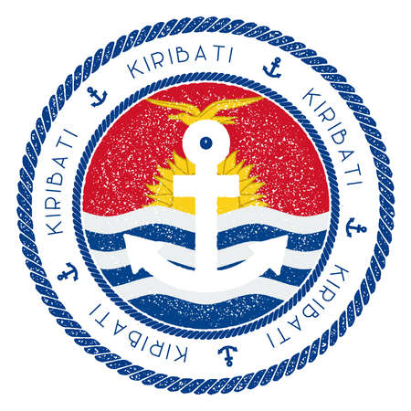 Nautical Travel Stamp with Kiribati Flag and Anchor. Marine rubber stamp, with round rope border and anchor symbol on flag background. Vector illustration.