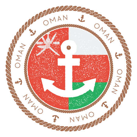 Nautical Travel Stamp with Oman Flag and Anchor. Marine rubber stamp, with round rope border and anchor symbol on flag background. Vector illustration.