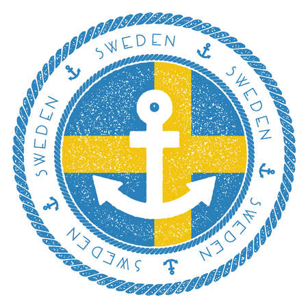 Nautical Travel Stamp with Sweden Flag and Anchor. Marine rubber stamp, with round rope border and anchor symbol on flag background. Vector illustration.