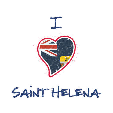 Saint Helenian flag patriotic t-shirt design. Heart shaped national flag Saint Helena, Ascension and Tristan da Cunha on white background.