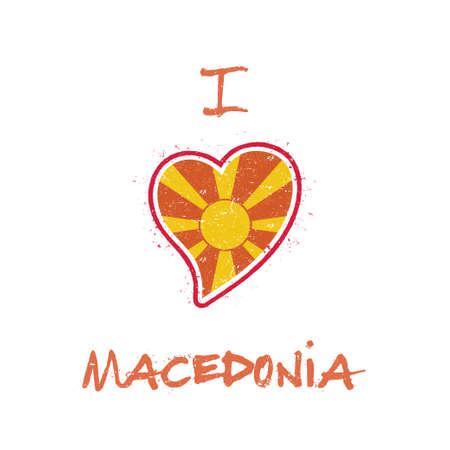 Macedonian flag patriotic t-shirt design. Heart shaped national flag Macedonia, the Former Yugoslav Republic Of on white background. Vector illustration.