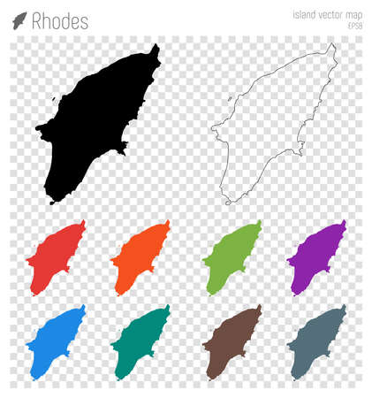 Rhodes high detailed map. Island silhouette icon. Isolated Rhodes black map outline. Vector illustration.
