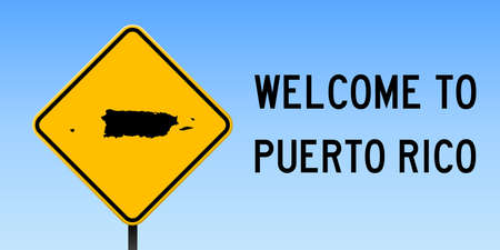 Puerto Rico map on road sign. Wide poster with Puerto Rico country map on yellow rhomb road sign. Vector illustration.