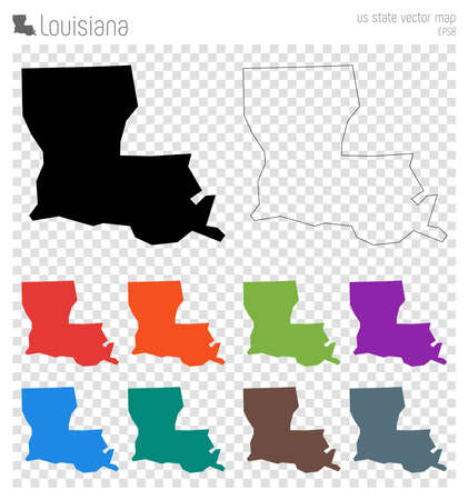Louisiana high detailed map. Us state silhouette icon. Isolated Louisiana black map outline. Vector illustration.