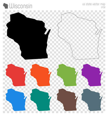 Wisconsin high detailed map. Us state silhouette icon. Isolated Wisconsin black map outline. Vector illustration.