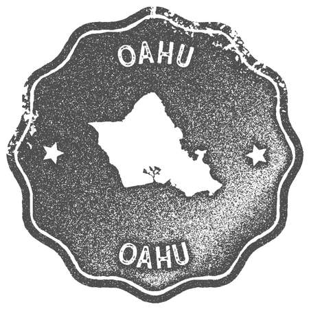 Oahu map vintage stamp. Retro style handmade label, badge or element for travel souvenirs. Grey rubber stamp with island map silhouette. Vector illustration. 矢量图像