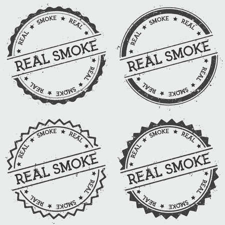 Real smoke insignia stamp isolated on white background. Grunge round hipster seal with text, ink texture and splatter and blots, vector illustration. Ilustracja