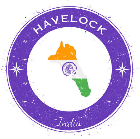 Havelock Island circular patriotic badge. Grunge rubber stamp with island flag, map and name written along circle border, vector illustration. Illustration