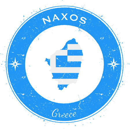 Naxos circular patriotic badge. Grunge rubber stamp with island flag, map and name written along circle border, vector illustration. Illustration