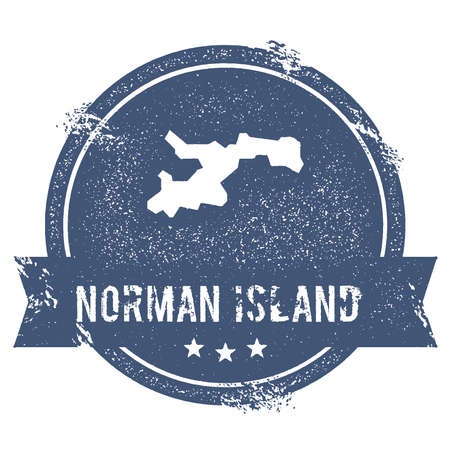 Norman Island logo sign. Travel rubber stamp with the name and map of island, vector illustration. Can be used as insignia, logotype, label, sticker or badge.