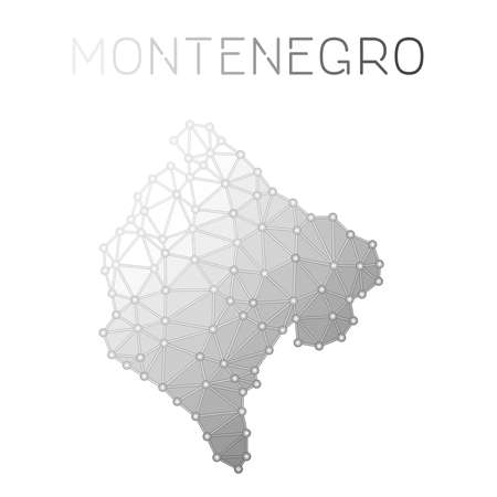 Montenegro polygonal vector map. Molecular structure country map design. Network connections polygonal Montenegro map in geometric style for your infographics.