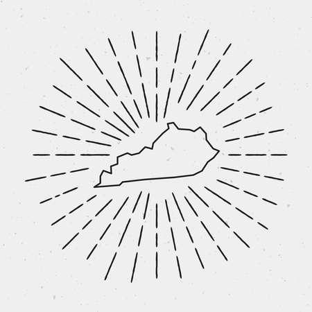 Retro Sunburst Hipster Design. Kentucky Map Surrounded by Vintage Sunburst Rays. Trendy Hand Drawn Sun Rays Black Element on White Background. Ilustração