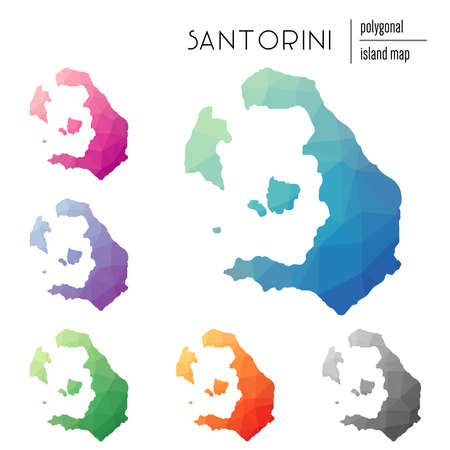 Set of vector polygonal Santorini maps filled with bright gradient of low poly art. Multicolored island outline in geometric style.