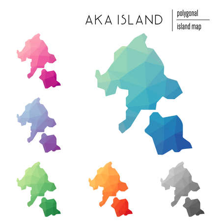 Set of vector polygonal Aka Island maps filled with bright gradient of low poly art. Multicolored island outline in geometric style for your infographics.