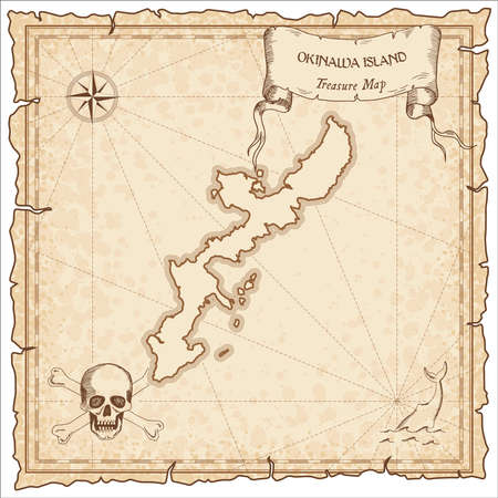 Okinawa Island old pirate map. Sepia engraved parchment template of treasure island. Illustration
