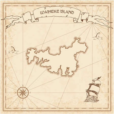 Waiheke Island old treasure map. Sepia engraved template of pirate island parchment. Stylized manuscript on vintage paper. Illustration